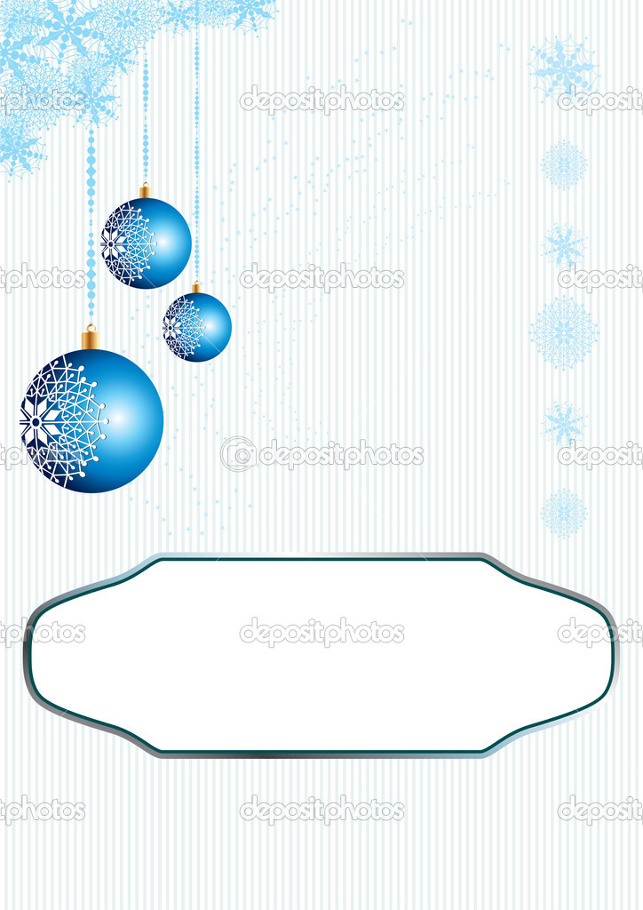 Christmas card with blue ornaments, vector illustration — Stock Vector #1910113