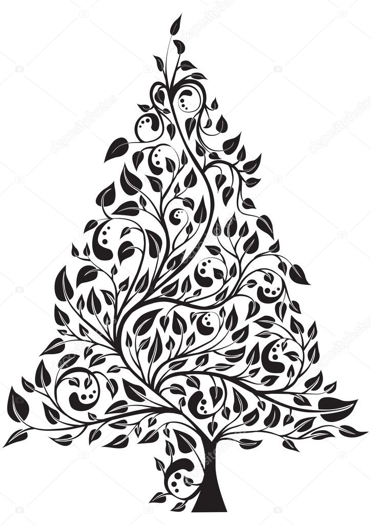 Artistic pine tree isolated over white, vector illustration — Stock Vector #1911039