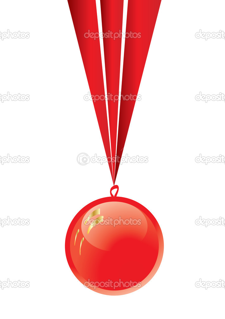 Red medal with ribbon isolated on white, vector illustration — Grafika wektorowa #1911473
