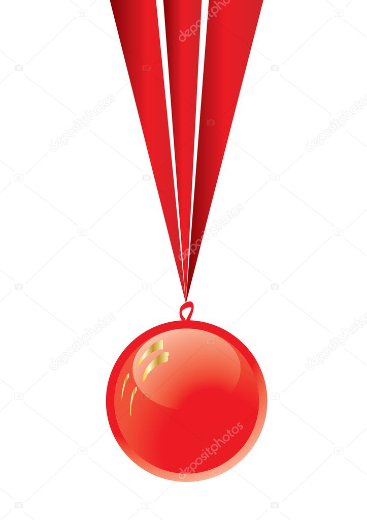 Red medal with ribbon isolated on white, vector illustration    #1911473