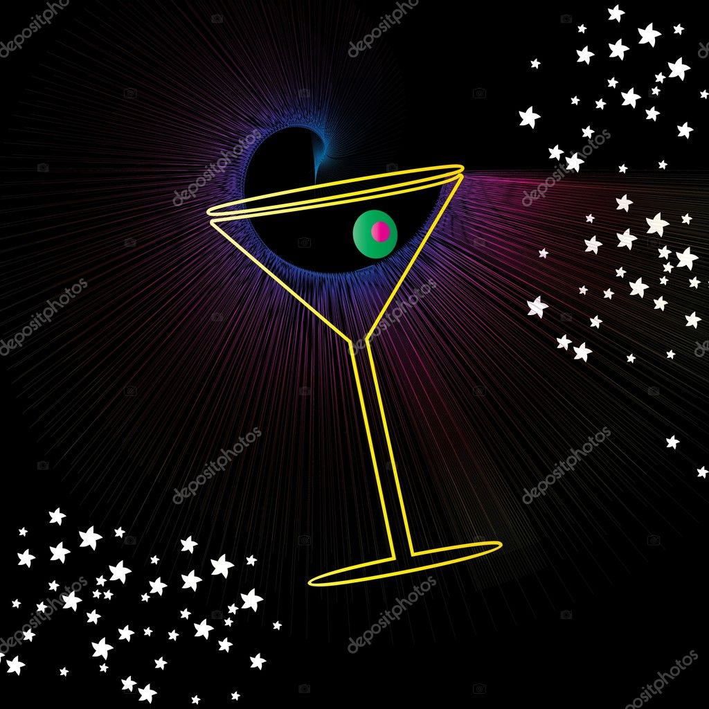 Martini drink glass with olive abstract background vector illustration design — Stock Vector #1912721