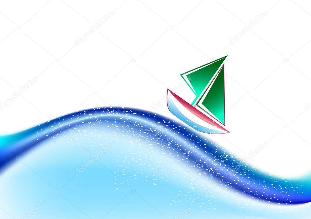 Abstract wavy vector backdrop with sailing boat. Meshes used. — Stock Vector #1912880