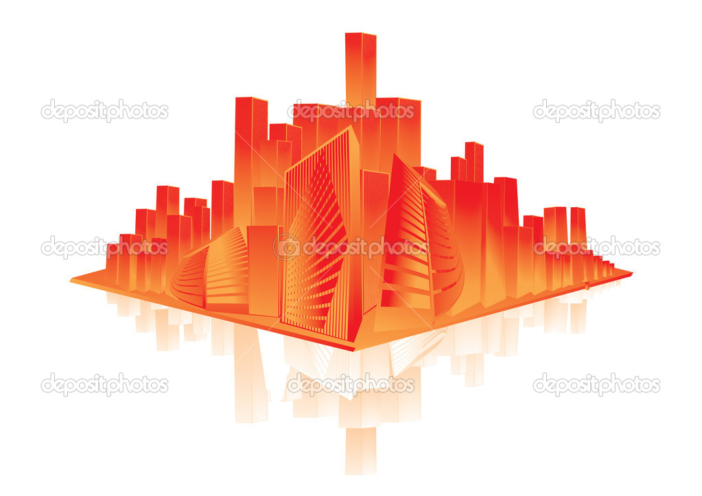 Shiny orange city with reflection — Stock Vector #1913025