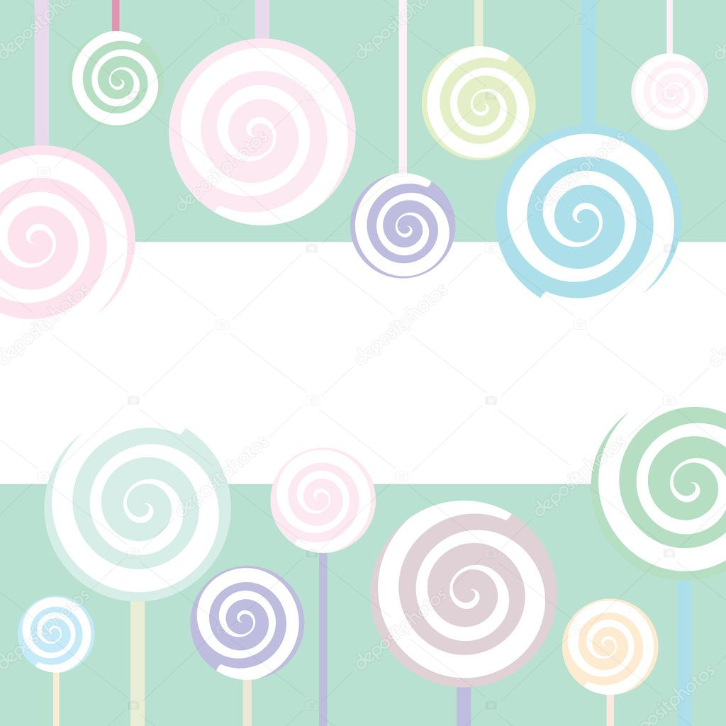 Trendy Lollipop Background in pastel colors — Imagen vectorial #1914137