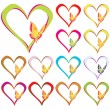 Royalty-Free Stock Vector Image: Hearts and Butterfly Set