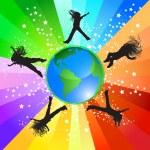 Jumping around the world — Stock Vector