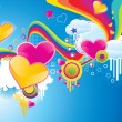 Funky styled valentine background - Imagen vectorial