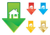 Caída de los precios de la vivienda — Vector de stock