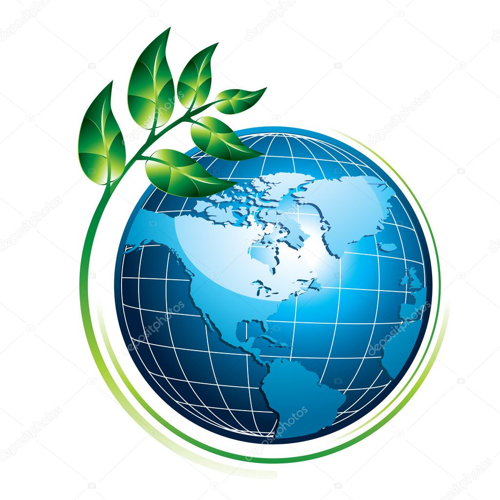 Blue shiny globe with green plant - eco concept, vector illustration — Stock Vector #1920112