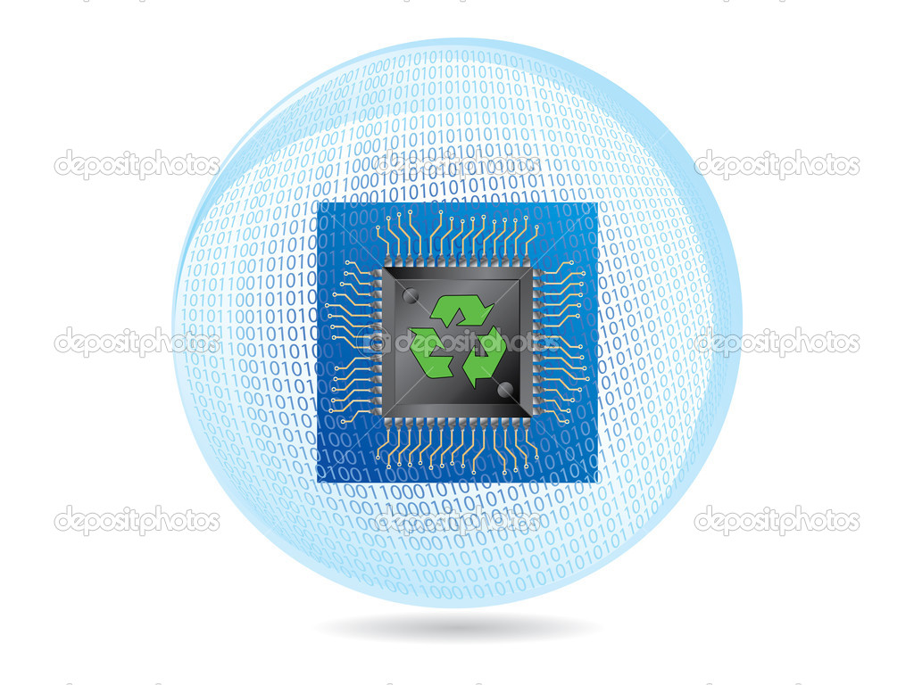 Recycling ecology binary sphere with microchip and circuit board isolated over white, vector illustration  Stock Vector #1920500