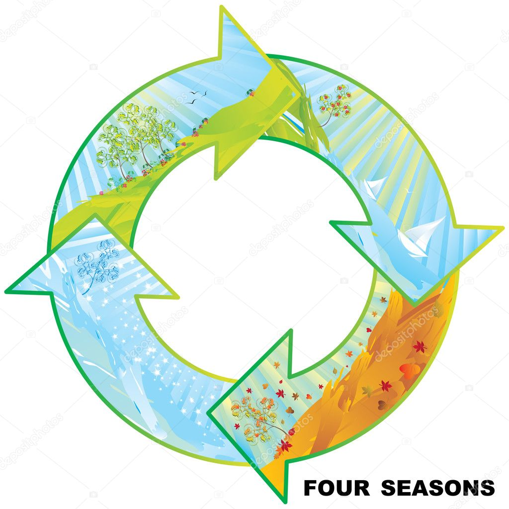 Four seasons circle vector illustration with copy space — Stock Vector #1921212