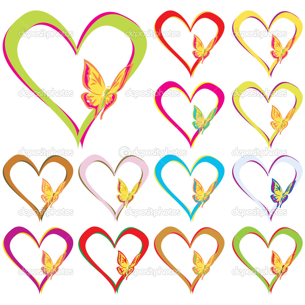 Heart Butterfly Set in different colors over white background, Vector Illustration — Stock Vector #1924669