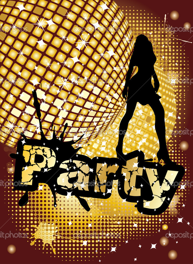 Party background with big disco ball and woman silhouette dancing, vector illustration — Stock Vector #1925784