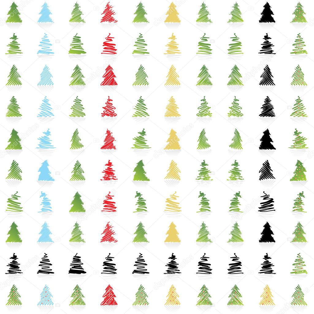 ICON Vector DESIGN COLLECTION OF ONE HUNDRED Christmas trees in different colors and some in silhouettes — Imagens vectoriais em stock #1932482