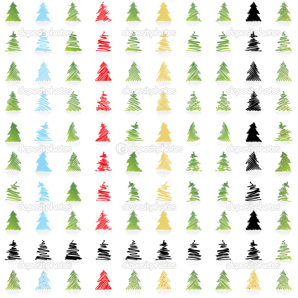 ICON Vector DESIGN COLLECTION OF ONE HUNDRED Christmas trees in different colors and some in silhouettes  Stock Vector #1932482