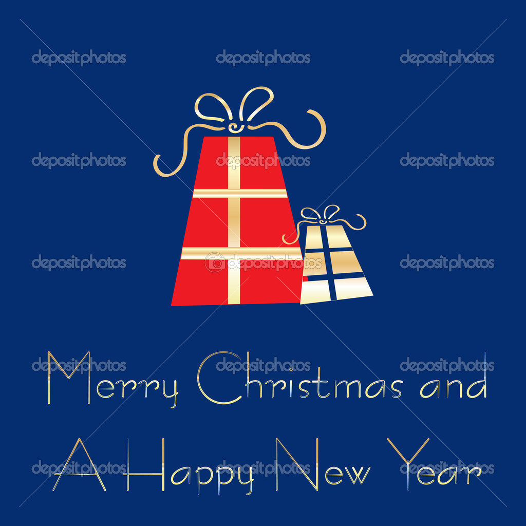 Merry Christmas and A Happy New Year greeting card template, vector illustration  Stock Vector #1933123