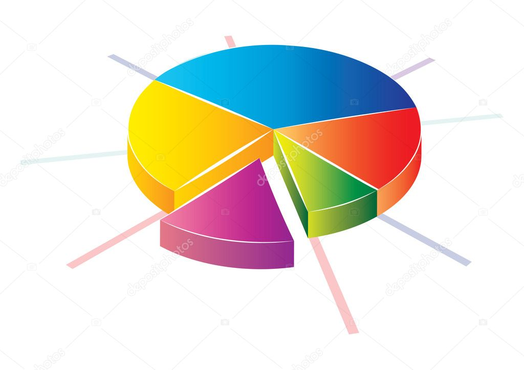 Statistic colorful pie chart icon, vector illustration — Stock Vector #2009332