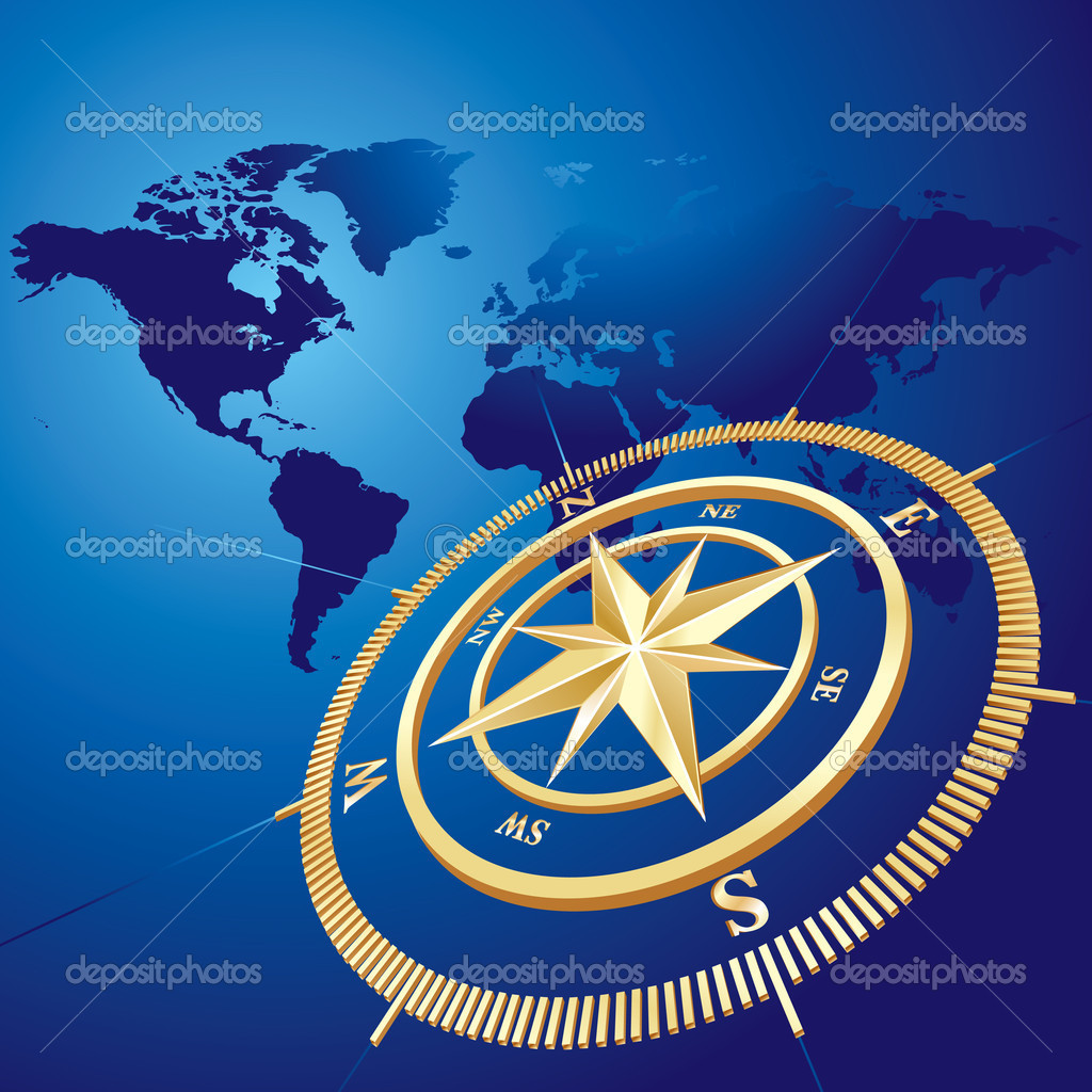 Gold compass with world map background, vector illustration - Base Map by Tinka Sloss, NASA Reusable images — Stock Vector #2475209