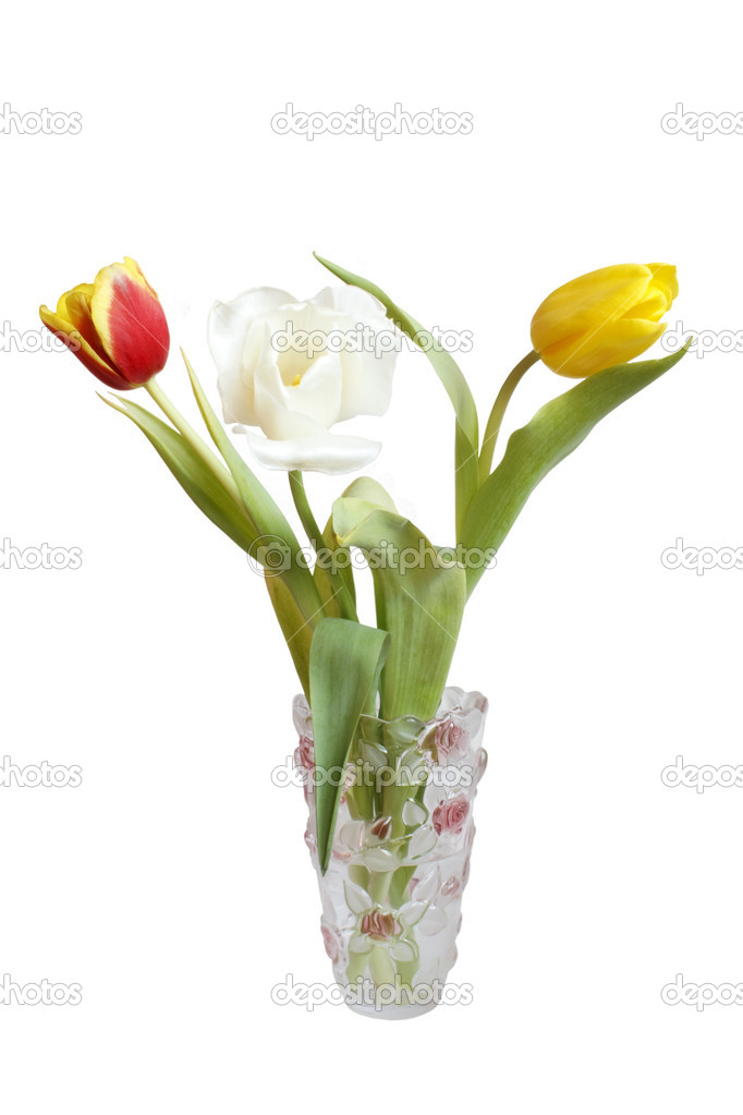 Multi-coloured tulips in a vase, on a white background  Stock Photo #2537898