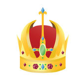 Gold crown with precious stones — Vector de stock