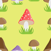 Mushrooms seamless pattern — Stock Vector