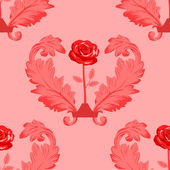 Seamless floral pattern red — Stock Vector