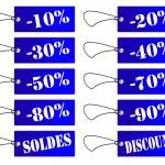 Etiquettes bleus soldes et discount — Stock Photo