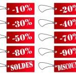 Etiquettes rouges soldes et discount — Stock Photo #2119143