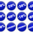 Set icones bleus soldes et promotions — Stock Photo