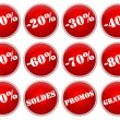 Set icones rouges soldes et promotions - Stock Photo