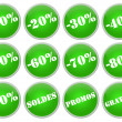 Set icones verts soldes et promotions - Stock Photo