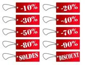 Etiquettes rouges soldes et discount — Stock Photo