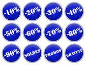 Set icones bleus soldes et promotions — Stock Photo