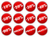 Set icones rouges soldes et promotions — Stock Photo