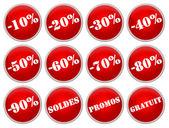 Set icones rouges soldes et promotions — Stock Photo