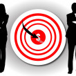 Royalty-Free Stock Photo: One arrow in a target on wall with busin