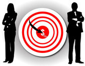 One arrow in a target on wall with busin — Stock Photo