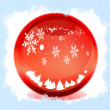 Snow in the red magical balls - Stock Photo