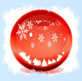 Snow in the red magical balls — Stock Photo