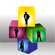 Royalty-Free Stock Vector Image: Businessman in cubes