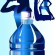 Stock Vector: Bottled water with fitness girl