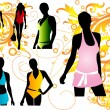 Royalty-Free Stock Vector Image: Silhouettes women swimwear