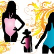 Silhouettes women swimwear - Stock Vector