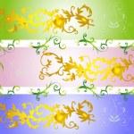 Set flower background, — Stock Vector