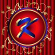 Royalty-Free Stock Vector Image: Blue letter k in red medal