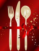 Knife fork spoon to celebrate — Stock Vector