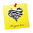 Stock Vector: Yellow valentine card with retro heart i