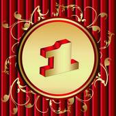 золотой номер один в золотую медаль — Cтоковый вектор