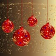 Christmas card with red ball — Stock Photo