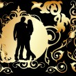 Royalty-Free Stock Vector Image: Two lovers in a golden frame